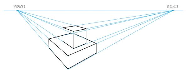 積み重ねた箱の透視図